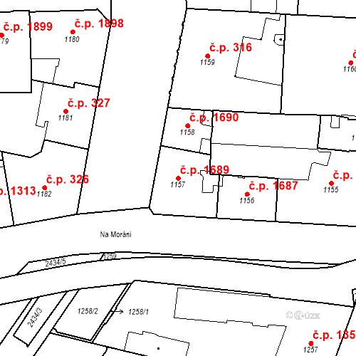 Katastrální mapa Stavební objekt Nové Město 1689, Praha