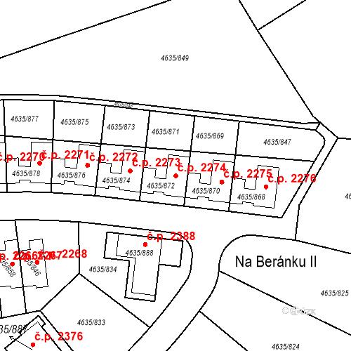 Katastrální mapa Stavební objekt Modřany 2274, Praha