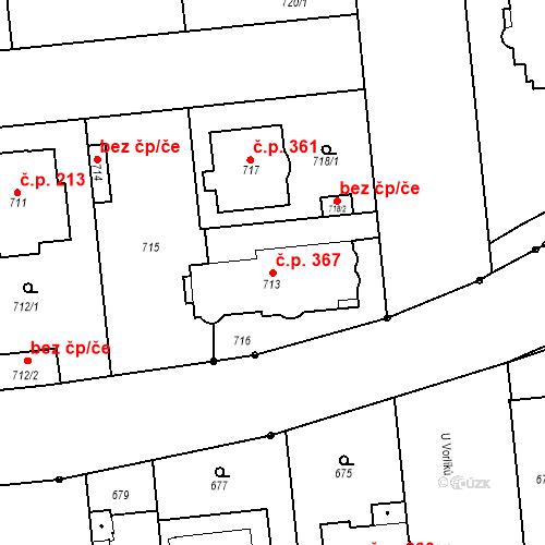 Katastrální mapa Stavební objekt Bubeneč 367, Praha