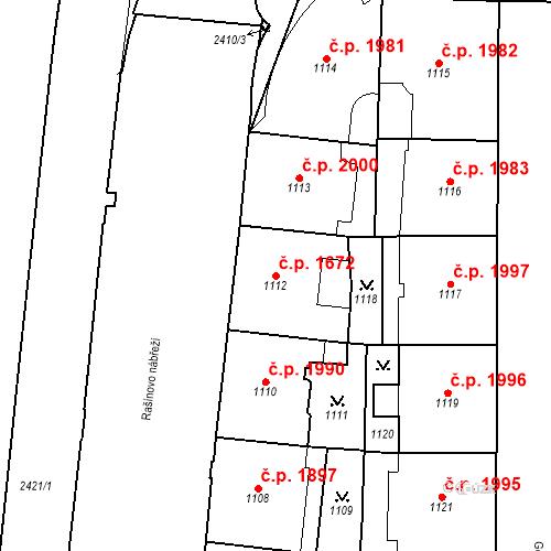Katastrální mapa Stavební objekt Nové Město 1672, Praha