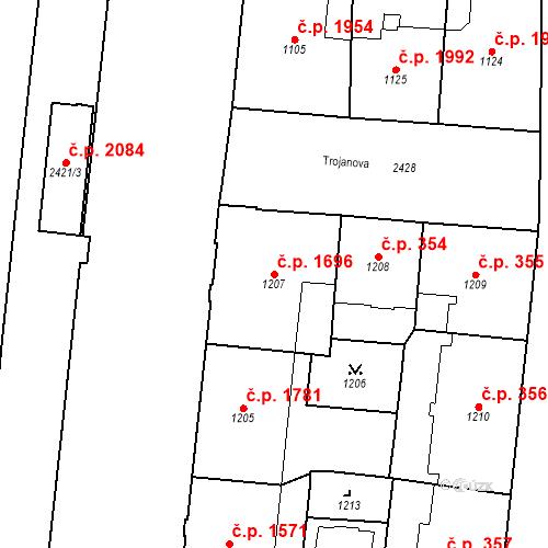 Katastrální mapa Stavební objekt Nové Město 1696, Praha