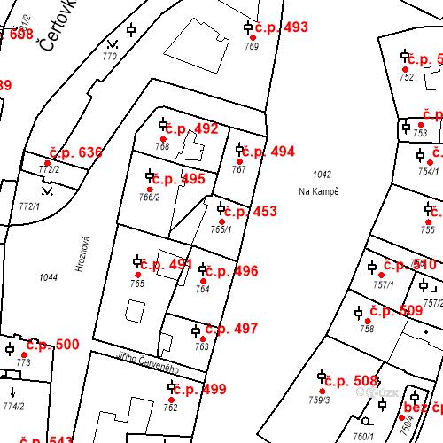Katastrální mapa Stavební objekt Malá Strana 453, Praha