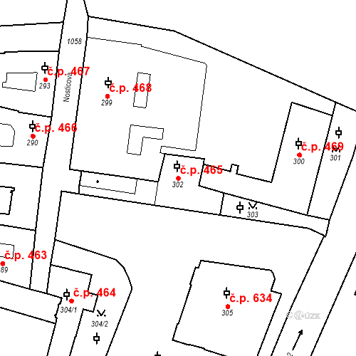 Katastrální mapa Stavební objekt Malá Strana 465, Praha