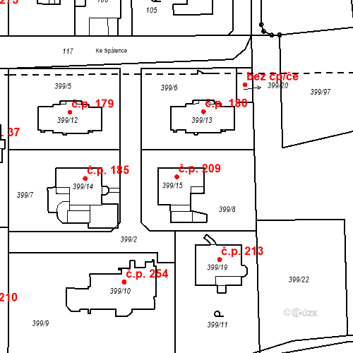 Katastrální mapa Stavební objekt Točná 209, Praha