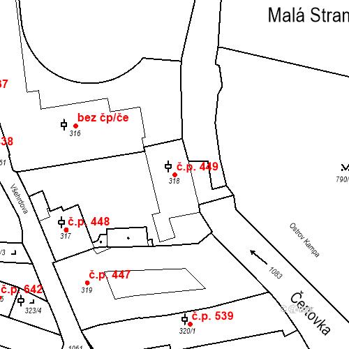 Katastrální mapa Stavební objekt Malá Strana 449, Praha