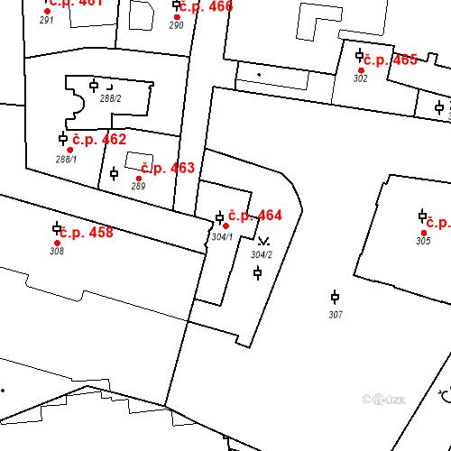 Katastrální mapa Stavební objekt Malá Strana 464, Praha