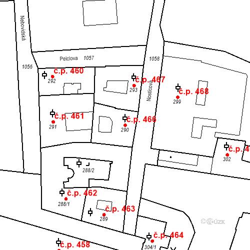 Katastrální mapa Stavební objekt Malá Strana 466, Praha