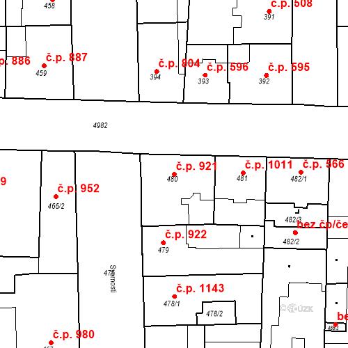 Katastrální mapa Stavební objekt Smíchov 921, Praha