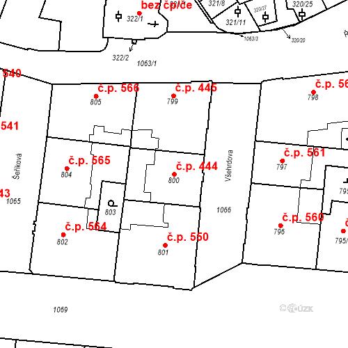 Katastrální mapa Stavební objekt Malá Strana 444, Praha