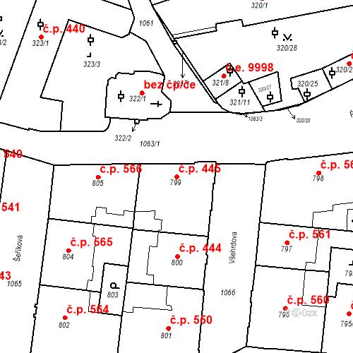 Katastrální mapa Stavební objekt Malá Strana 445, Praha