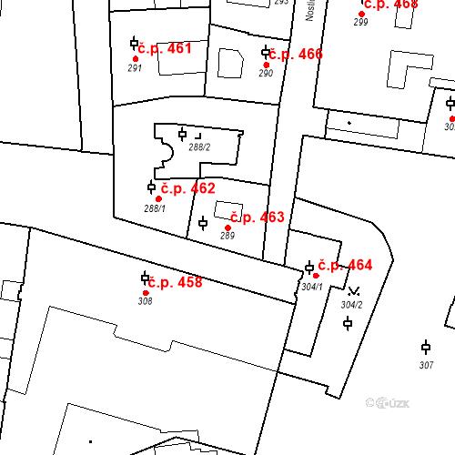 Katastrální mapa Stavební objekt Malá Strana 463, Praha
