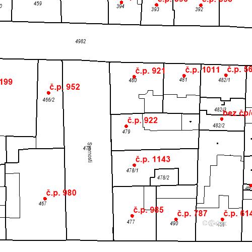 Katastrální mapa Stavební objekt Smíchov 922, Praha