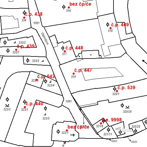 Katastrální mapa Stavební objekt Malá Strana 447, Praha