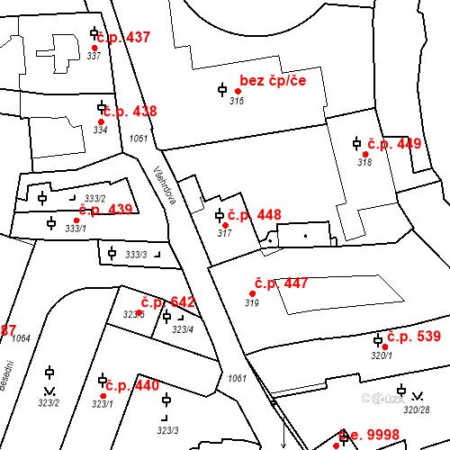 Katastrální mapa Stavební objekt Malá Strana 448, Praha