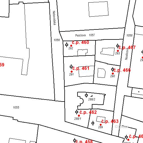 Katastrální mapa Stavební objekt Malá Strana 461, Praha
