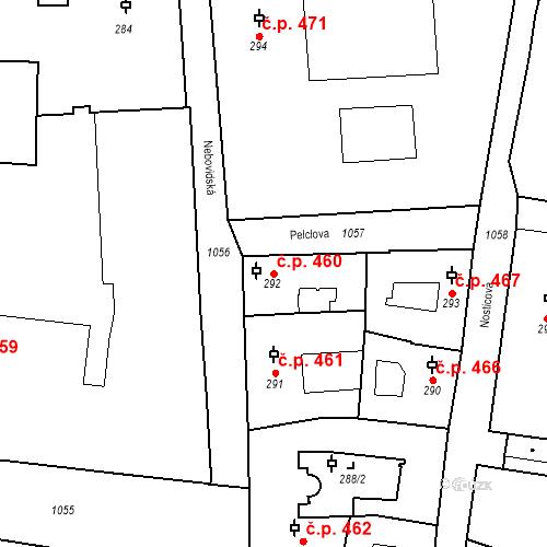Katastrální mapa Stavební objekt Malá Strana 460, Praha