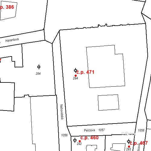 Katastrální mapa Stavební objekt Malá Strana 471, Praha