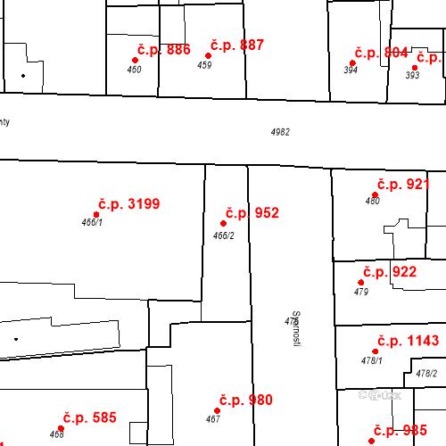 Katastrální mapa Stavební objekt Smíchov 952, Praha