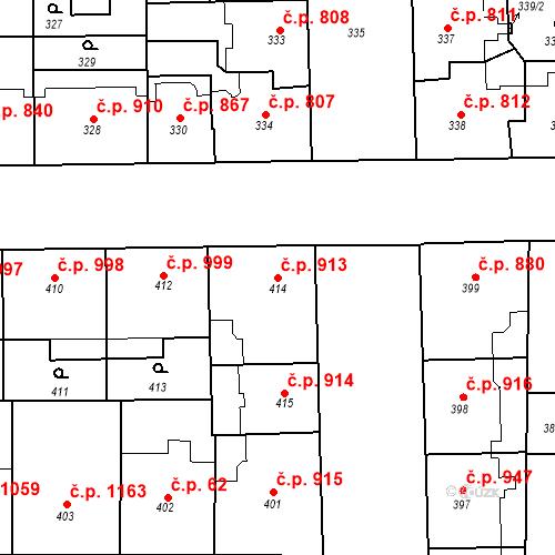 Katastrální mapa Stavební objekt Smíchov 913, Praha