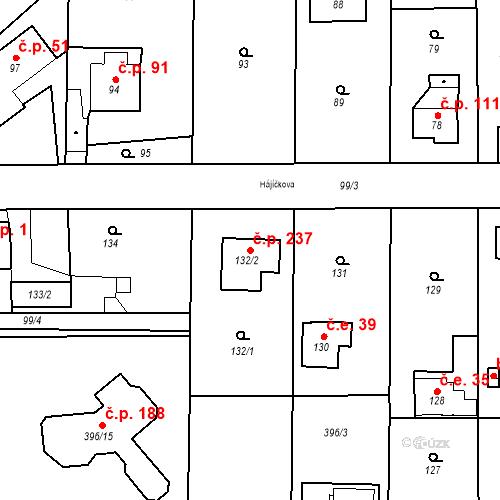 Katastrální mapa Stavební objekt Točná 237, Praha