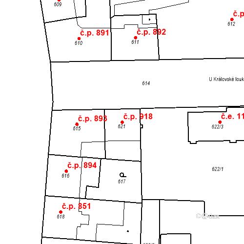 Katastrální mapa Stavební objekt Smíchov 918, Praha