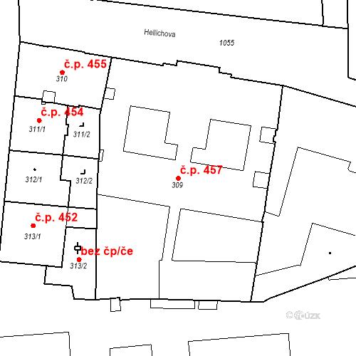 Katastrální mapa Stavební objekt Malá Strana 457, Praha