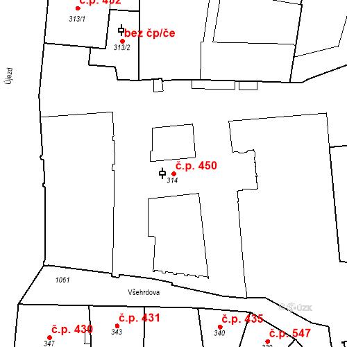 Katastrální mapa Stavební objekt Malá Strana 450, Praha