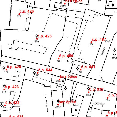 Katastrální mapa Stavební objekt Malá Strana 456, Praha