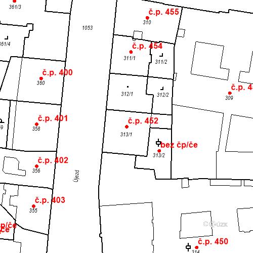 Katastrální mapa Stavební objekt Malá Strana 452, Praha
