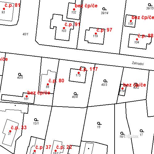 Katastrální mapa Stavební objekt Máslovice 117, Máslovice