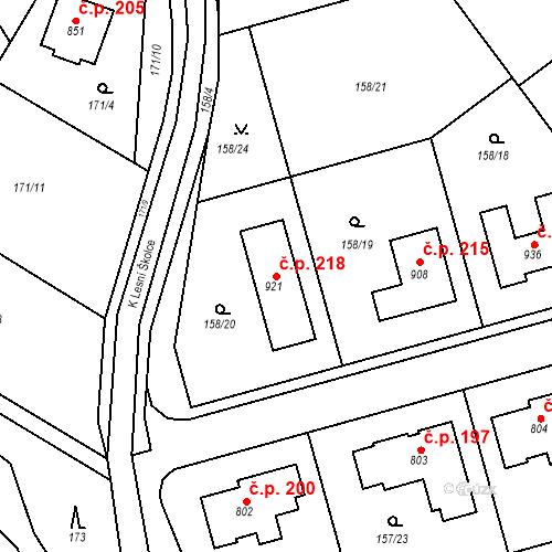 Katastrální mapa Stavební objekt Lhota 218, Dolní Břežany