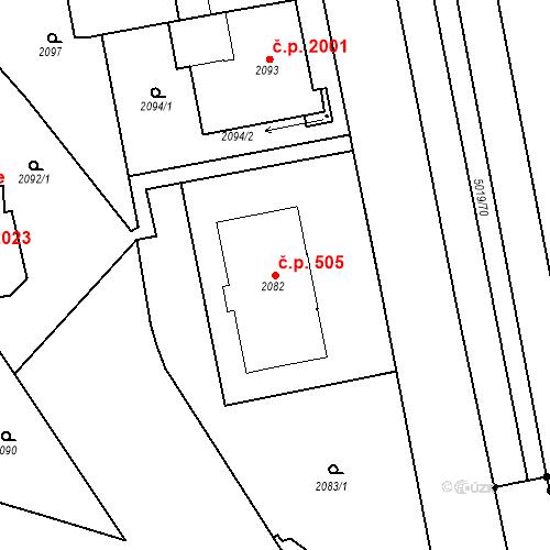 Katastrální mapa Stavební objekt Smíchov 505, Praha