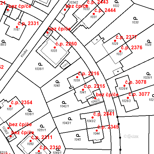 Katastrální mapa Stavební objekt Smíchov 2216, Praha