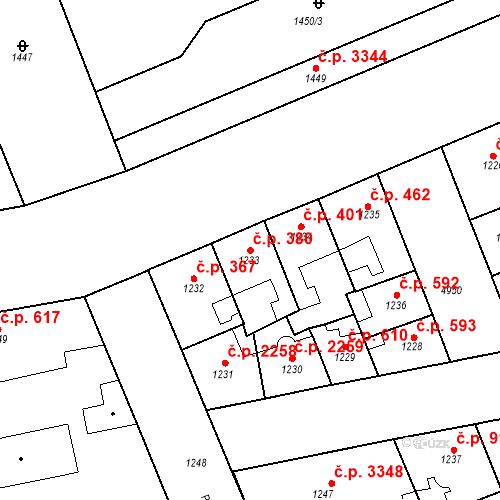 Katastrální mapa Stavební objekt Smíchov 380, Praha
