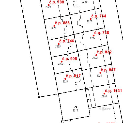 Katastrální mapa Stavební objekt Smíchov 905, Praha