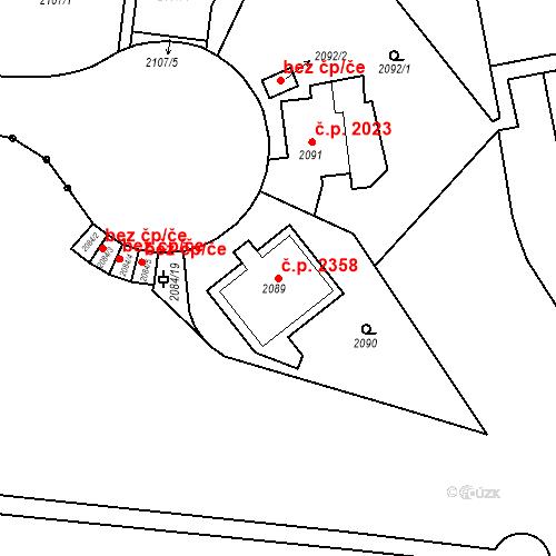 Katastrální mapa Stavební objekt Smíchov 2358, Praha
