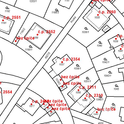 Katastrální mapa Stavební objekt Smíchov 2354, Praha