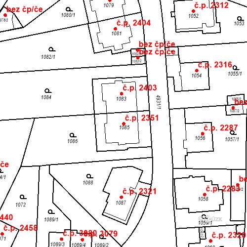 Katastrální mapa Stavební objekt Smíchov 2351, Praha