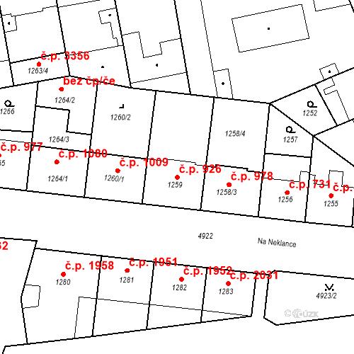 Katastrální mapa Stavební objekt Smíchov 926, Praha
