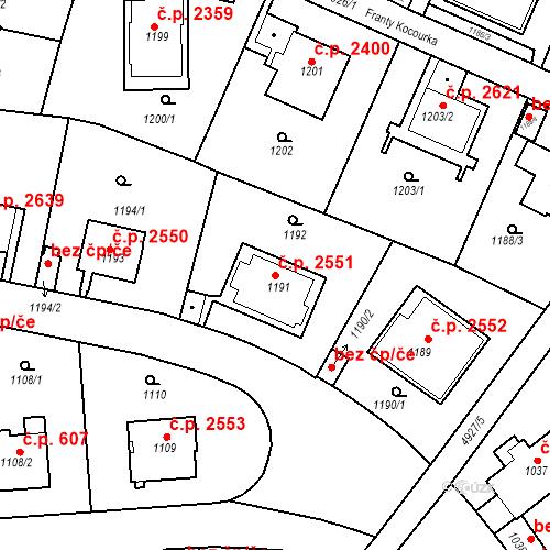 Katastrální mapa Stavební objekt Smíchov 2551, Praha