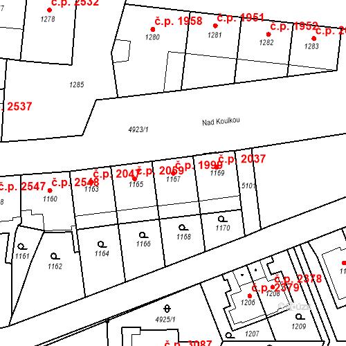 Katastrální mapa Stavební objekt Smíchov 1999, Praha