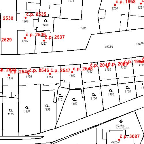 Katastrální mapa Stavební objekt Smíchov 2548, Praha
