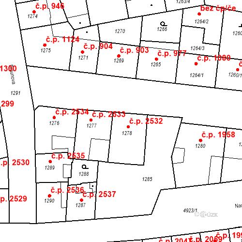 Katastrální mapa Stavební objekt Smíchov 2532, Praha
