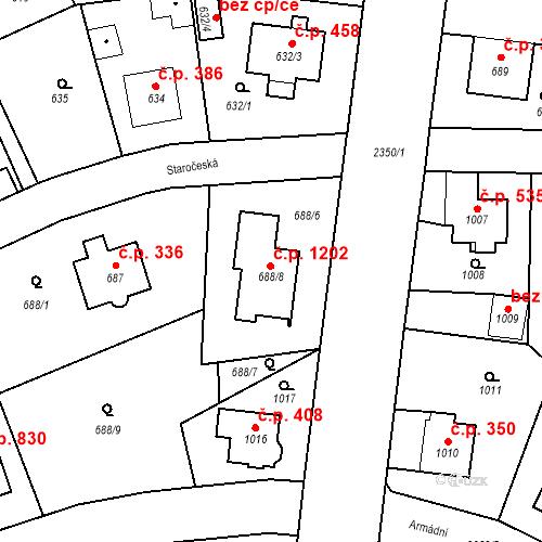 Katastrální mapa Stavební objekt Suchdol 1202, Praha