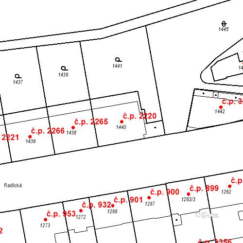 Katastrální mapa Stavební objekt Smíchov 2220, Praha