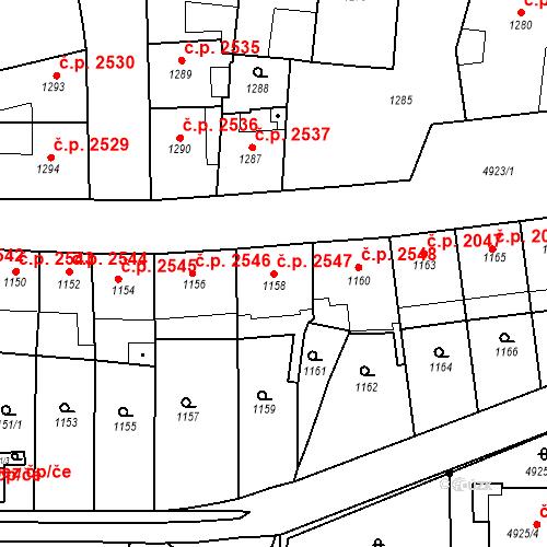 Katastrální mapa Stavební objekt Smíchov 2547, Praha