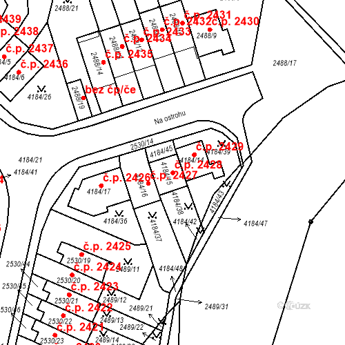 Katastrální mapa Stavební objekt Dejvice 2428, Praha