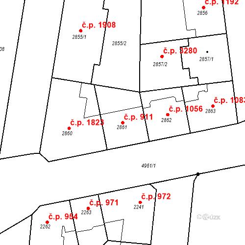 Katastrální mapa Stavební objekt Smíchov 911, Praha