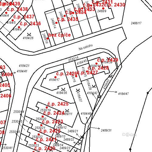 Katastrální mapa Stavební objekt Dejvice 2427, Praha