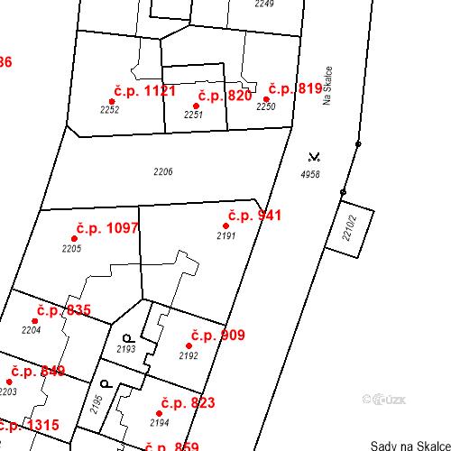 Katastrální mapa Stavební objekt Smíchov 941, Praha